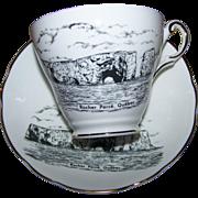 Souvenir Tea Cup Saucer Set Rocher Perce Quebec Heritage Regency Collection MIE