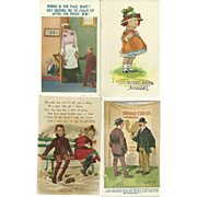 Collectible Vintage Lot Of 6 Motto Paper  Post Cards Oh So Wonderful !