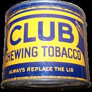 Collectible Vintage  Canadian Tin Litho Advertising  Tobacco Tin CLUB