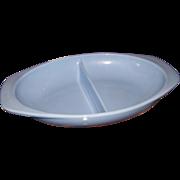 Vintage Pyrex Blue Delphite Glass Divided Casserole Pan Dish