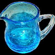 Hand Blown Pontil Artist Signed  Blue Bullicante Glass Controlled Bubbles Art Glass Pitcher