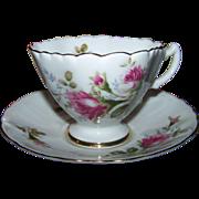 Unusual Shaped Tea Cup Saucer Set Westville Fine China Japan Rose Floral Pattern