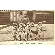 Vintage Post Card DIONNE QUINTUPLETS and Dr. Dafoe Postage stamp dating to 1936