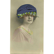 What A Unique Vintage Tinted  Postcard Pretty Young Lady Portrait With Hat and Real Human Hair