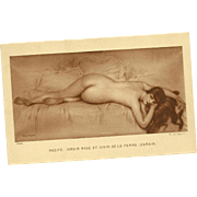 Erotic Risque Vintage Postcard  Nudite Jardin Rose et Divin de la Femme (Samain)