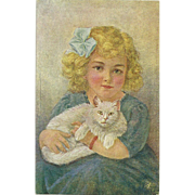 Charming Vintage Post Card Portrait of a Little Blond Girl and Her Pussy Cat