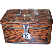 Vintage Advertising Tin Chest Lunch  Box Faux wood Art Deco Pattern Sovereign Chocolate Eclairs