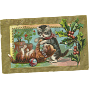 Charming Old  Embossed Postcard Post Card A Merry Christmas To You Pussy Cats Holly Berry