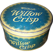 An Advertising Tin Litho  Can Willa'rds WILLOW CRISP Toronto Canada