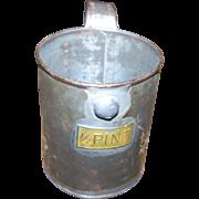 Vintage Aluminum Tin 1/2 Pint Measure Measuring Cup