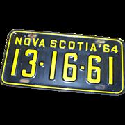 Vintage Collectible Souvenir Metal Ware Nova Scotia Canada License Plate 1964