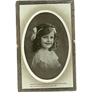 Charming Little Girl Portrait Post Card Postcard With Verse Valentine & Sons