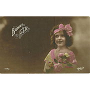 "Charming Vintage Tinted Post Card Postcard Bonne Fete Little Girl with Flowers ""  Gloria"