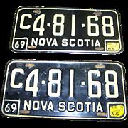 Vintage Nova Scotia License Plate Matching Set 1969