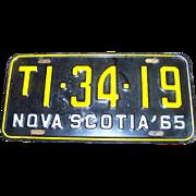Vintage Nova Scotia License Plate 1965
