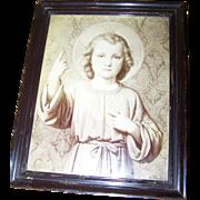 SOLD Lovely Framd Vintage Religious Print Jesus Child Artist Signed