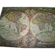 Vintage Reader's Digest reissued 16th Century Map of The World Orbis Terra Compendiosa