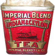 Imperial Blend Advertising  Litho Tea Tin Hamilton Steam Sailing Ship  Brantford Woodstock London