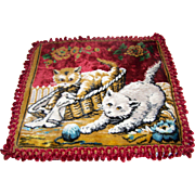 Oh My Vintage Velveteen Tapestry Style Kitty Cat Pillow Cover Case ITALY