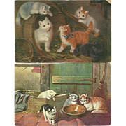 2 Lovely Vintage Kitty Cat Post Cards Postcards