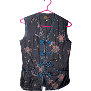 Vintage Peony Brand Padded Silk Style Faux Embroidery Floral Print Vest Ladies Size S