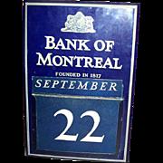 Collectible Wall Art Bank of Montreal Calendar Vintage Enamel Tin Sign