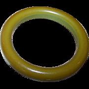 Vintage Green Bakelite Bangle Tested Positive Great Patina