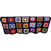 Small Colorful Vintage Hand Made Crochet Granny Square Coverlet