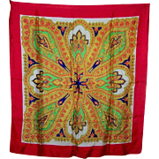 A Colorful Delicate Vintage Silk Scarf Hand Rolled Edges