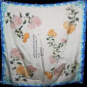 Beautiful Silk Ladies Fashion Scarf Chrysanthemum Floral Pattern Symbolic Asian Characters