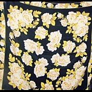 Gorgeous Large Black & Yellow Rose Floral Print Ladies Fashion Scarf