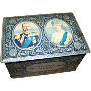 This Is A Rare Vintage  Royalty Advertising  Portrait Biscuit Tin Chest Queen King Silver Jubi