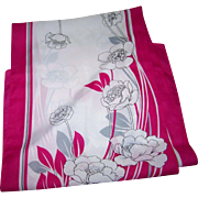 Pretty Lomng Rectangular Floral Pattern Polyester Scarf Made in Italy