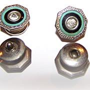 Enamel & Celluloid  Rhinestone  Deco Style Snap Cuff Links
