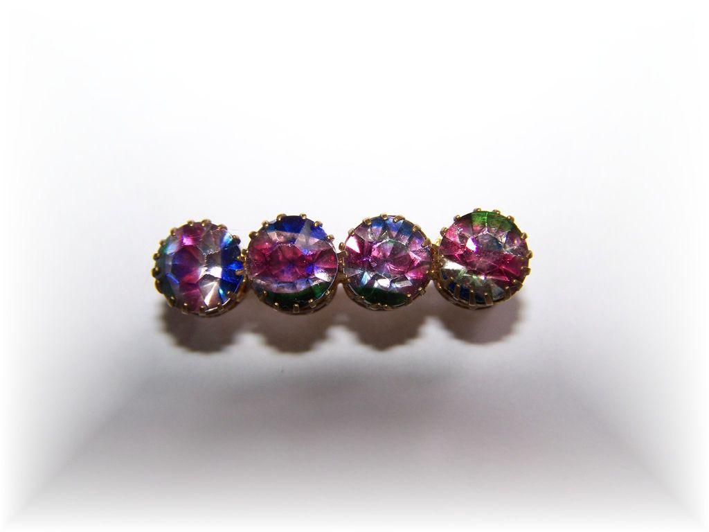 Vintage Glass Iris Rainbow Stone Pin Brooch
