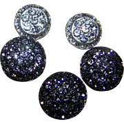 Oh So Pretty Bright & Shiny Rhinstone Metal Ware Buttons Assorted Lot of 5