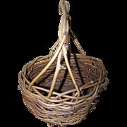 Primitive Farmhouse Real Twig Branch Handled Gathering Basket