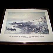 "Framed Vintage W.H.Bartlett Print 1809-1854  "" The St. Lawrence at Montreal  Le Saint Lau"