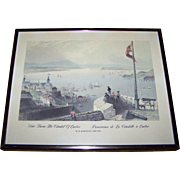 """Framed Print bt W.H. Bartlett 1809-1854  """" View From The Citadel of Quebec  Panorama de L"""