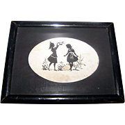 Charming Miniature  Framed Silhouette Featuring Two Little Girls at Play