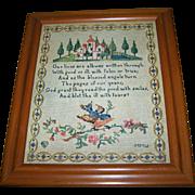 Pretty Vintage Framed Paper Print Motto Sampler  C. 1917 P.F.Volland & Co. Chicago
