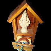 My Rosary Wood Shrine Plastic Mary Statue  Blue Glass Bead Rosary Enamel Accents France