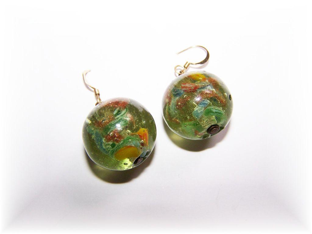 Pretty Venetian Art Glass Marble Earrings