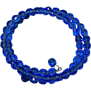 Pretty Delicate Faceted Electric Blue Crystal Bead Memory Wire Coil Bracelet