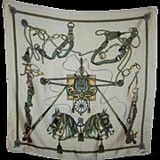 Large Designer Signed Silk La Dear Silk Equestrian Horse Tack Carriage Themed Scarf