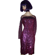 1970- 80's  Designer Sequin Disco Dress Evening Wear Size 7/8 New Leaf  by Samir California