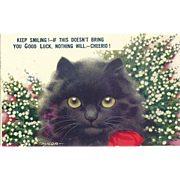 2 Charming  Black Kitty Cat  Post Cards Keep Smiling and Here's A Sprig of Heather
