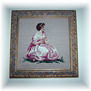 Beautiful Vintage Framed Cross Stitch Needle Point Lovely Lady