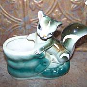 Vintage Pottery Planter  Skunk in Shoe