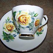 Yellow Rose Floral Motif Tea Cup & Saucer Royal Trent  England